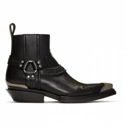 Balenciaga Black Santiag Harness Boots 562603 WA921