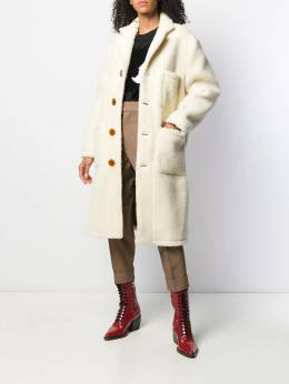 Vivienne Westwood Anglomania - single breasted shearling coat AH6656S0553095563965