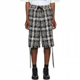 Faith Connexion Black and White Tweed Laced Check Shorts 192848M19300301GB