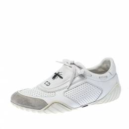Dior White Leather And Suede D-Fence Lace Up Sneakers Size 37.5 226983