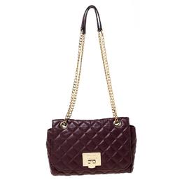 MICHAEL Michael Kors Burgundy Quilted Leather Shoulder Bag 226277