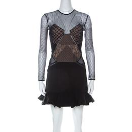 Self-portrait Black Crepe and Lace Ruffle Detail Paneled Dress S 226689