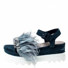 Miu Miu Blue Canvas Feather/Crystal Embellished Platform Sandals Size 38 227290