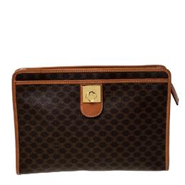 Celine Brown Macadam Leather Clutch 226526