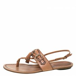Gucci Brown Leather Tassel Horsebit Thong Flat Sandals Size 37 225389