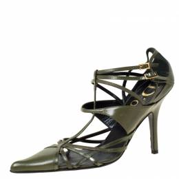 Dior Green Leather Strappy Pointed Toe Pumps Size 36.5 225495