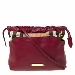 Burberry Burgundy House Check Canvas and Leather Little Crush Crossbody Bag 225585
