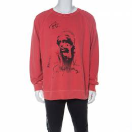 Burberry Coral Red Portrait Printed Cotton Vintage Wash Effect Sweatshirt XXL 226753
