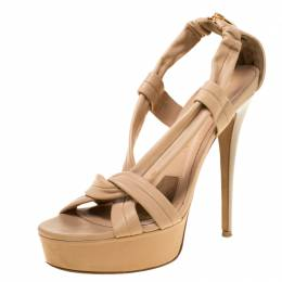 Burberry Beige Leather Strap Platform Sandals Size 38 226544