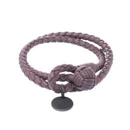 Bottega Veneta Intrecciato Nappa Purple Woven Leather Wrap Toggle Bracelet M 223774