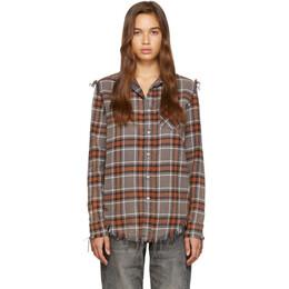 R13 Red and Grey Shredded Seam Shirt 192021F10901901GB