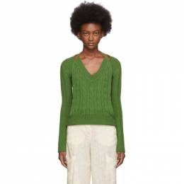 Jacquemus Green La Double Maille V-Neck Sweater 192553F10000404GB
