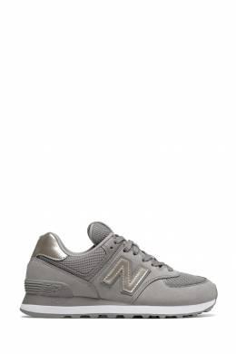 Серые кроссовки с серебристыми вставками New Balance 433153086