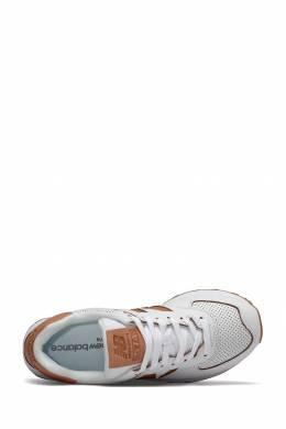 Белые кроссовки с коричневой отделкой New Balance 433153084