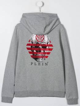 Philipp Plein Junior - TEEN skull print zipped hoodie CBJB6093PJO660N95566