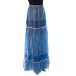 Stella McCartney Blue Printed Silk-Blend Chiffon Tiered Maxi Elsa Skirt XL