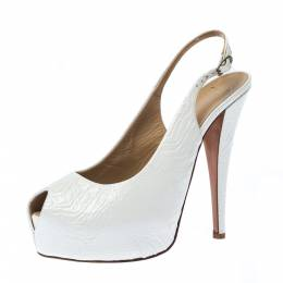 Giuseppe Zanotti Design White Embossed Leather Peep Toe Slingback Platform Sandals Size 40 227243