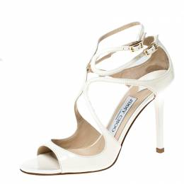 Jimmy Choo Cream Patent Leather Lang 100 Ankle Strap Sandals Size 35.5 226718