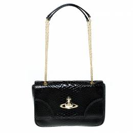 Vivienne Westwood Black Snakeskin Embossed Leather Frilly Shoulder Bag 226578