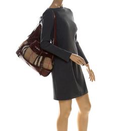 Burberry Brown Nova Check Canvas and Leather Shoulder Bag 226579