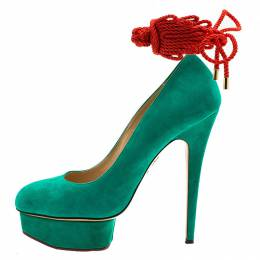 Charlotte Olympia Green Suede Dolly Platform Pumps Size 39.5 227364