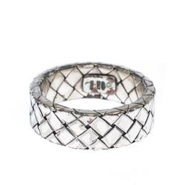 Bottega Veneta Intrecciato Woven Silver Band Ring Size 56 227368