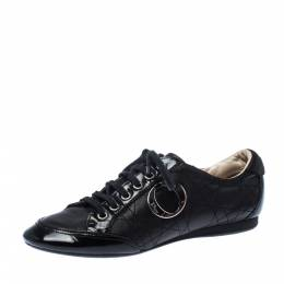 Dior Black Quilted Leather Lace Up Sneakers Size 38 227426