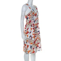 Burberry White Flag& Rope Print Cotton Sleeveless Dress M 227394