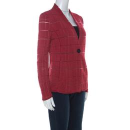 Giorgio Armani Red Rib Knit Single Button Jacket S 227339