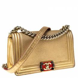 Chanel Gold Cube Embossed Leather Medium Boy Flap Bag 226868