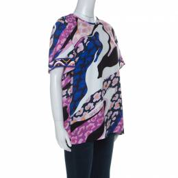 Emilio Pucci Pink & Blue Abstract Print Short Sleeve Top S 227404