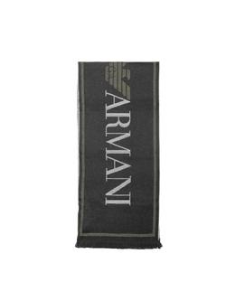 Черный Текстурный Фирменный Мужской Шарф из Смеси Шерсти Emporio Armani 625058 9A358 00020 NERO