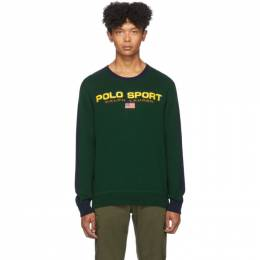 Polo Ralph Lauren Green and Navy Polo Sport Crewneck Sweater 192213M20100306GB