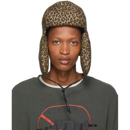 R13 Tan Leopard Canvas Trapper Hat 192021M14000202GB