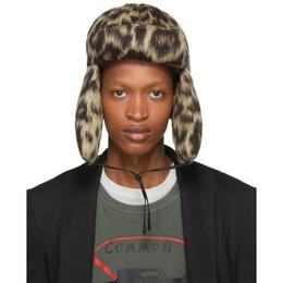 R13 Tan Leopard Wool Trapper Hat 192021M14000102GB