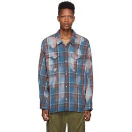 R13 Blue Oversized Plaid Cowboy Shirt 192021M19200403GB