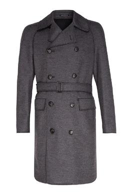 Серое двубортное пальто Emporio Armani 2706153997