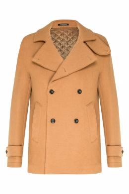 Двубортное коричневое пальто Emporio Armani 2706154016