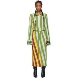 J.W. Anderson Multicolor Warped Stripe Print Polo Dress 192477F05500101GB