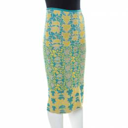 M Missoni Blue & Yellow Floral Knit Lurex Pencil Skirt S