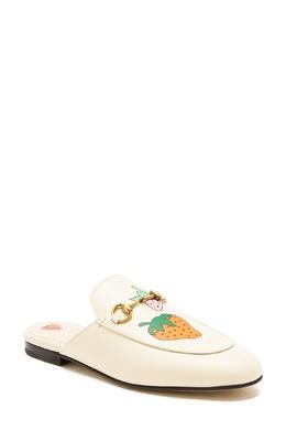 Белые слиперы Princetown с рисунком Gucci 470154529