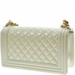 Chanel White Calfksin Leather Boy Chanel Shoulder Bag 227595
