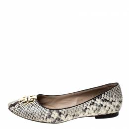Tory Burch Two Tone Python Embossed Leather Reva Ballet Flats Size 37.5