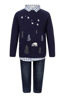 Комплект из рубашки, джемпера и джинсов Il Gufo 1205154247