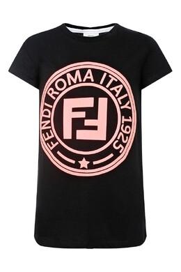 Черная футболка с круглым логотипом Fendi Kids 690154010