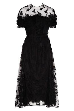 Кружевное платье-миди черного цвета Prada 40154605