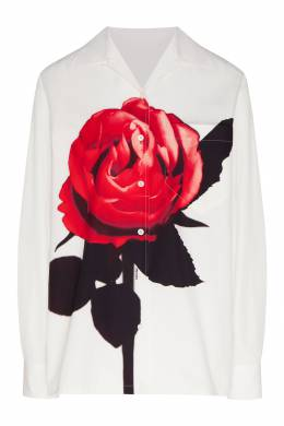 Белая рубашка с цветочным рисунком Prada 40154582