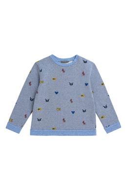 Голубой трикотажный свитер на мальчика Bonpoint 1210152775