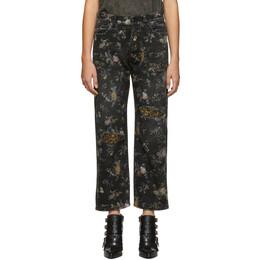 R13 Black and Multicolor Denim Floral Boyfriend Jeans 192021F06902105GB