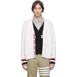 Thom Browne White Merino Wool Funmix Stitch Chunky V-Neck Cardigan 192381M20002405GB